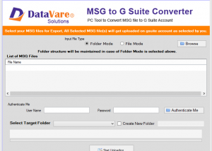 Datavare MSG to G Suite Converter screenshot