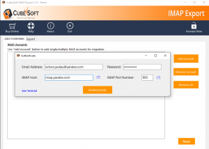 Export IMAP file to Office 365 screenshot